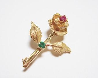 Vintage 14K Rose Stem Brooch Pin
