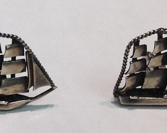Sterling Silver Tall Ship Cuff Links