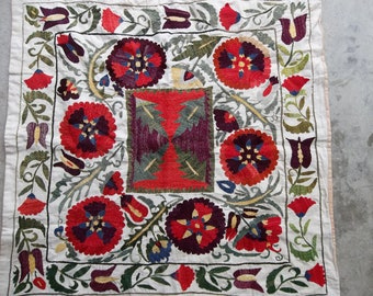 1960's Uzbek Susani Silk Thread Embroidered Wall Hanging