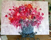 "Red Bouquet ORIGINAL Encaustic semi abstract floral ""Glorious Bouquet"" 20x30"" STUDIOSABINE"