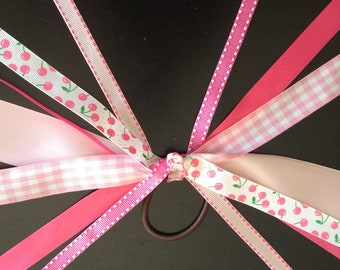 Pink Cherries Pony Tail Bow