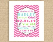 Chevron Baby Birth Announcement Wall Art 8 x 10 Print - can do any color