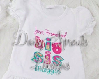 Just Promoted Big Sis Applique Design INSTANT DOWNLOAD