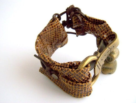 Handmade jewelry, leather bracelet, cuff bracelet, brass bangle, bracelet strap, RESERVATION