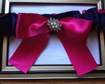 SALE - Navy Blue /Fuchsia Wedding Garter - Toss Garter -  Wedding Toss Garter Rhinestone Detail...