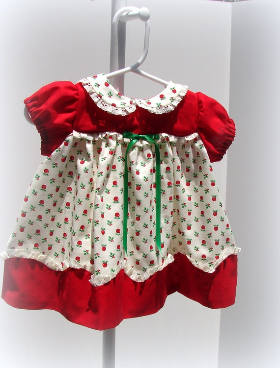 Newborn To 6 Month Infant Christmas Dress In Red Cream And