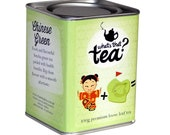 Loose Leaf Chinese Green tea in a decorative tin