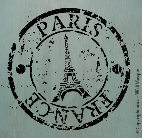 Paris France Stamp Stencil