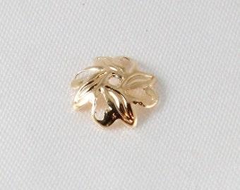 25 pcs - 10mm Gold Plated Filigree Leaf Bead Caps