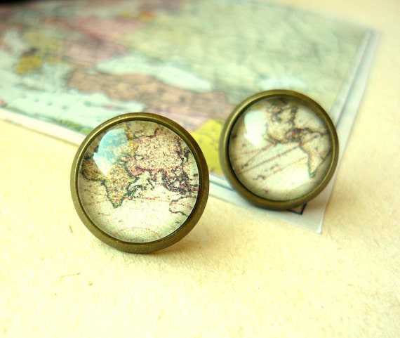 Vintage World Map Stud Earrings - Free Shipping - Made to order :)