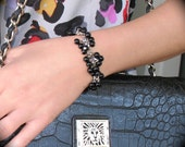 Black Cluster Silver Stretch Bracelet
