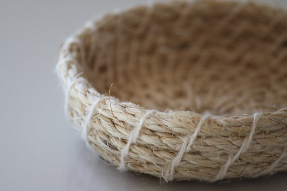 Upcycled 'Nude' Rope Basket: Natural / Coiled / Small