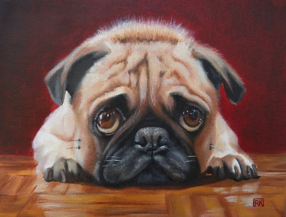 Pug Staring Contest - 9 x 7 Original Oil Painting on Canvas Panel with gloss varnish