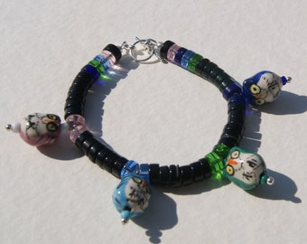 Glass Heishe and Ceramic Owl Bracelet Pink Green Blue and Black