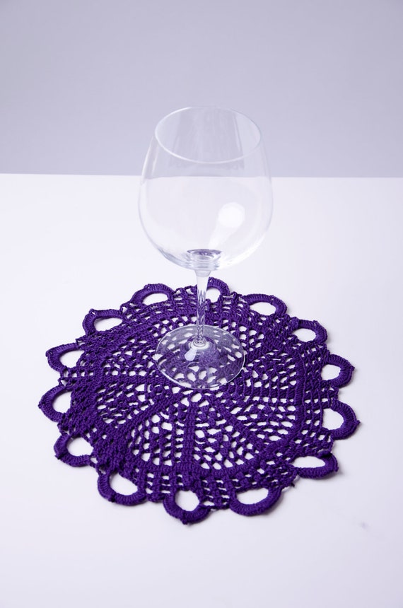 Purple table doily coaster handmade crochet