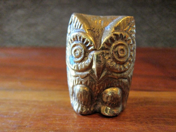 Brass Owl Figurine - Owl Statue - Hoot Owl Decor - Owl Paperweight - Retro Owl Toy - Owl Decoration - MidCentury - Mid-Century -