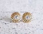 Repurposed Vintage Inspired Gold and Rhinestone Earring Studs
