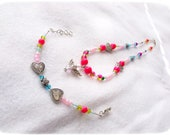PINK Necklace and bracelet set, angel pendant, glass beads, pink, original, ready to ship, for girls