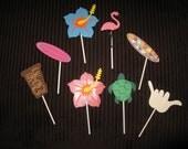 Hawaiian Luau Party Cupcake Toppers, Set of 12