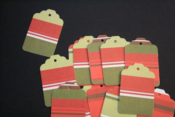 1.00 Set of 28 O Christmas Collection Red, Green, Brown Striped Tags