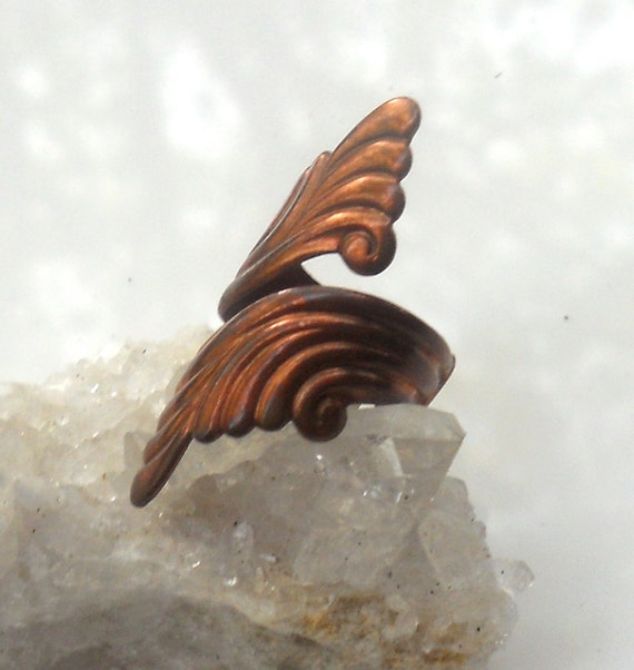 Vintage Copper Ring Size 6 Angel Wings