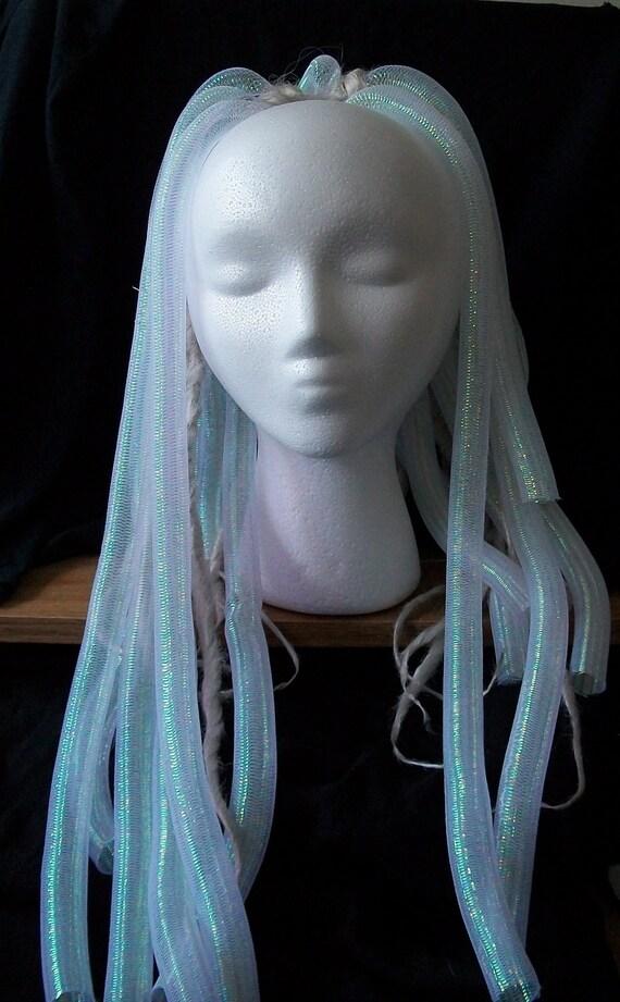 UV Reactive Cyberlox White Dread Fall Goth Cyber Club