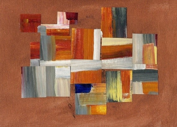 original (not a print) 192 9 x 12 modern art abstract painting mixed media with collage