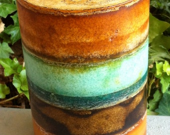 Pillar Candle, Extra Large Giant Jumbo, 3 Wick 6 x 9, Textured Rustic Layered, Brown,  Aqua, Turquoise, Beach Decor, Hand Poured