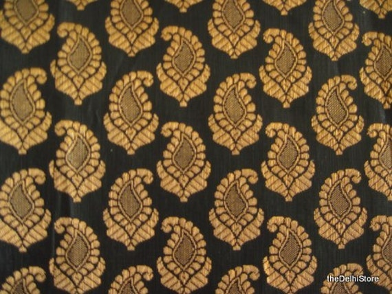 Black And Gold Silk Brocade Paisley Fabric Remnant Half Yard
