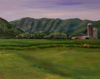 Seven Sisters Mountain- original oil painting of summer farmland-landscape painting