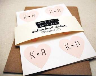 "Medium Pink Heart Stickers 1.5"" - Custom Initials Wedding Stickers / Pack of 120 Labels / Wedding Favors"