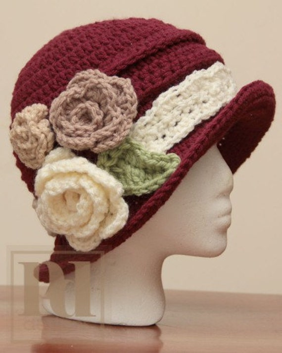 Ladie's Elegant Ruched Cloche with Flowers Crochet PDF Pattern