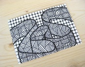 original aceo atc art ink abstract drawing black & white ribbon