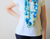 Skinny Recycled T Shirt Scarf Blue Infinity Scarf Bleached Womens Accessories