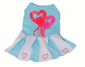 Turquoise Heart Pleated Dog or Cat Dress