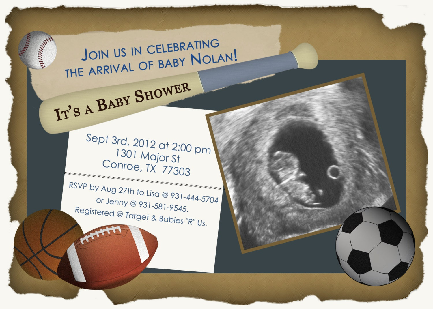 sports theme baby shower invitation digital image