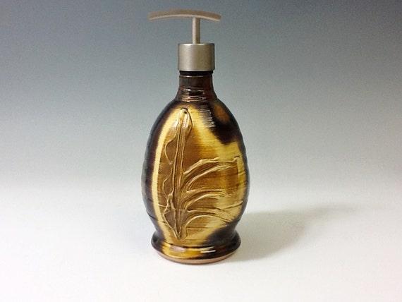 "Soap/Lotion Dispenser ""Carnival Rust with Organic Slip Design"""