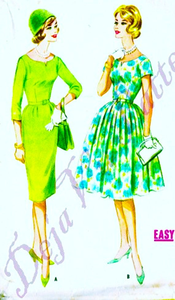McCalls 5703 Vintage 1950s Dress Slim or Full Skirt Pattern Sz 14 B34
