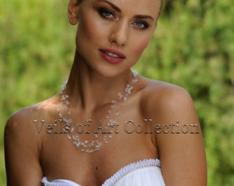 Swarovski Crystals Bridal Necklace by Veils of Art  Style VE404 Wedding Jewelry