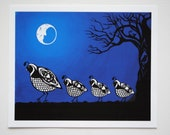 "8""x10"" Quails By Moonlight Print"