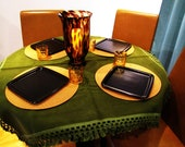 vintage army green velvet tablecloth. autumn table decor