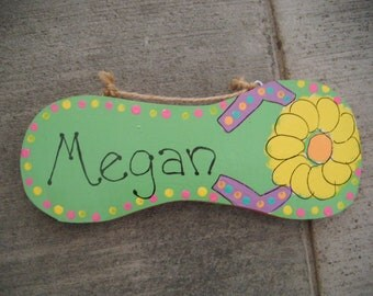 Handpainted personalized wood flip flop