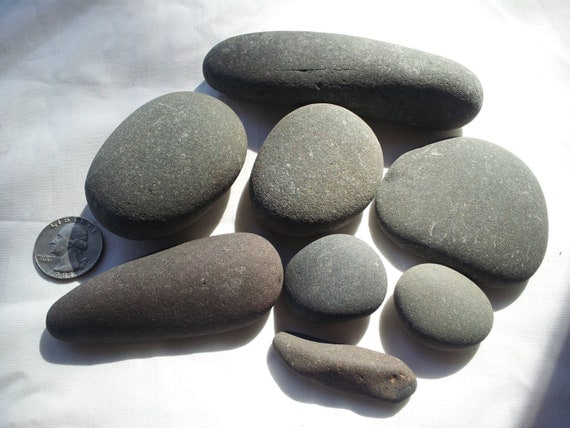 8 smooth gray stones river rock lake rock naturally formed for Smooth stones for landscaping