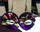 Kente purple seashell earrings