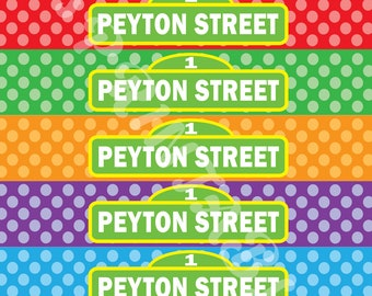 Sesame Street Polka Dot Water Bottle Labels - Customized Digital File