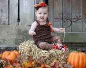 Brown Ruffled Lace Petti Romper - Thanksgiving, Fall, Autumn - Toddler, Baby, Girl, Child