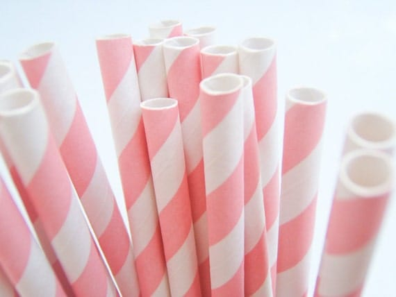 Striped Paper Drinking Straws (25) - BABY PINK - Includes Free Printable Straw Flags