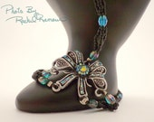 Matte Black Seedbead and Teal Crystal Beaded with Bow Set 33