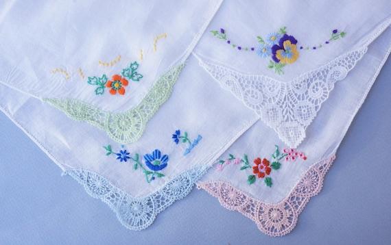 Set of 4 Vintage Hand-Embroidered Handkerchiefs