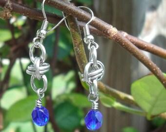 Blue barrel weave chainmaille earrings